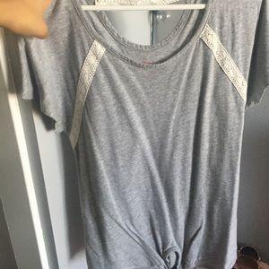 Gray short sleeve that ties at bottom